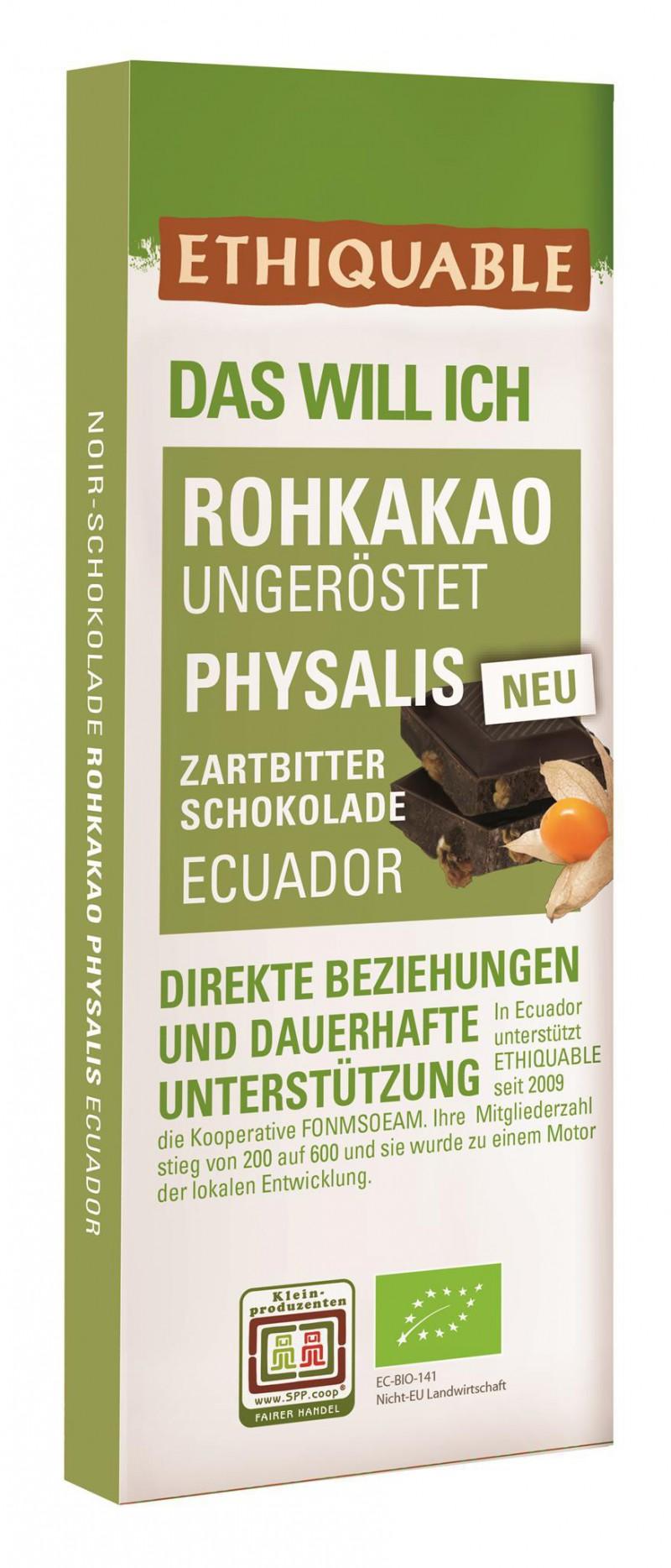 Noir-Schokolade Rohkakao Physalis 70% Ecuador